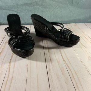 Black New York & Co Wedge Sandal sz 7 1/2